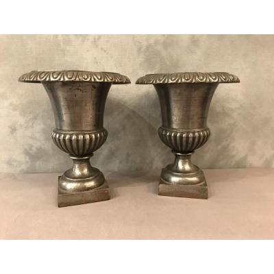 Paire De Vases  Médicis En Fonte D'époque 19ème
