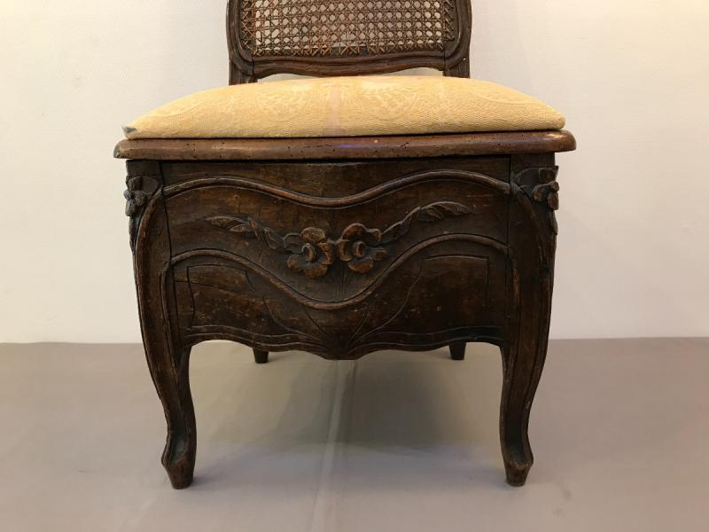 Chaise De Commodité En Bois Naturel D'époque 18ème Louis XV -photo-2