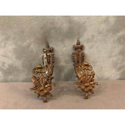 Pair Of 19th Century Bronze Embrase Doors In Louis XVI Style