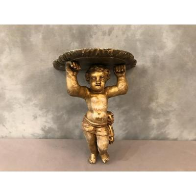 Wall Console In Golden Wood Decorated With A 19th Century Cherub