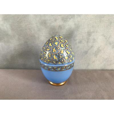 Empty Egg Pockets In Opalized Glass And Period Enamelled Decor 19th