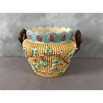Louvain Earthenware Planter From Late 19th Century
