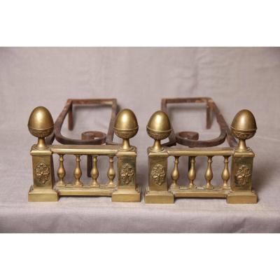 Paire De Chenets anciens En Bronze d'époque 18ème