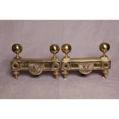 Chenets anciens d'époque Louis XVI En Bronze