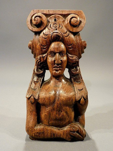 Carved Oak Caryatid  19th Century