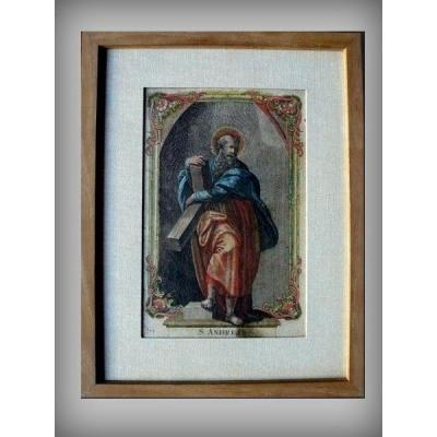 Religious Hand Colored Engraving Saint André End Of The 17th Debut 18th Century
