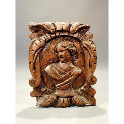 Panneau En Bois Sculpté 18eme Siécle Religieux baroque