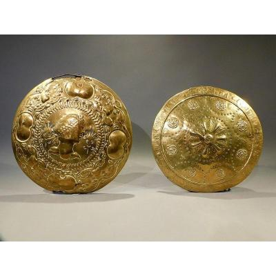 Pair Of Brass Bed Warmer Lids 17th 18th