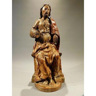 Christ In Majesty In Wood End Of The 16th Century Haute Epoque