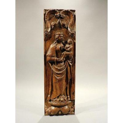 17th Century Carved Wooden  Panel  Virgin Mary And Child Haute Epoque
