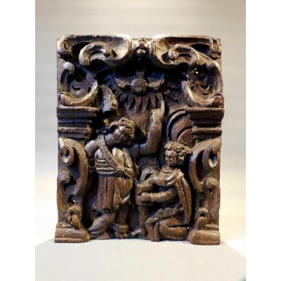 17th Century Carved Wood Panel The Annunciation Of The Virgin
