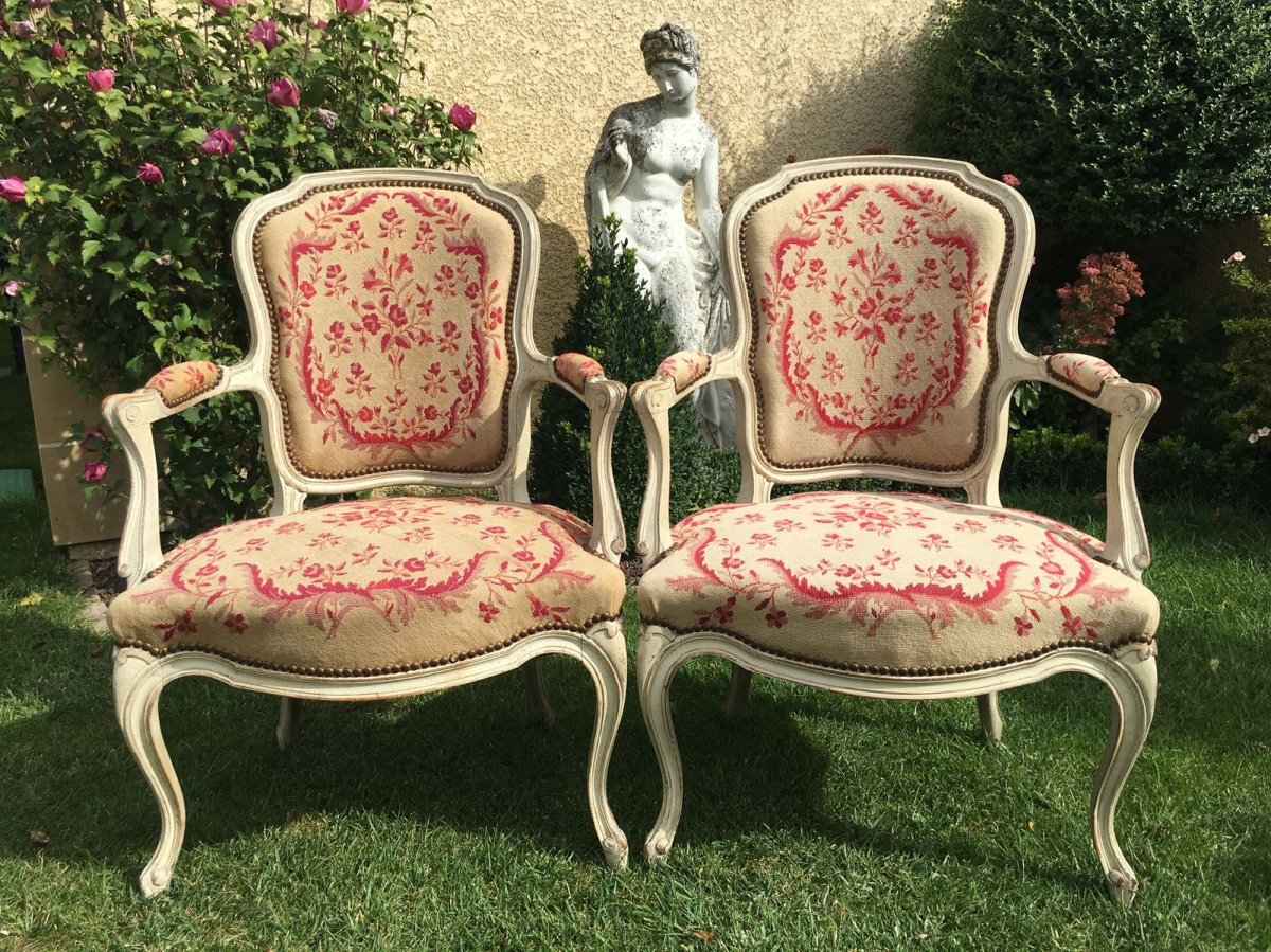 XVIIIe - Pair Of Lacquered Armchairs Period Louis XV
