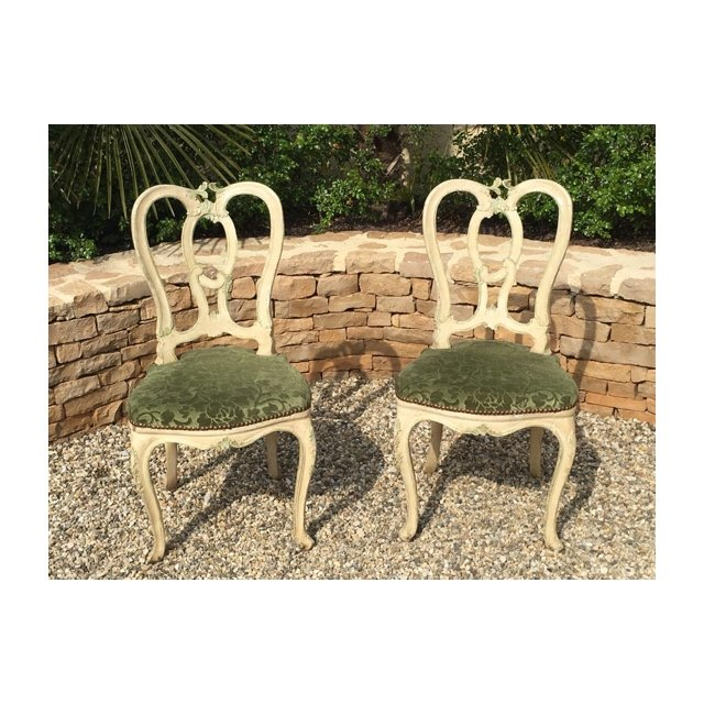 Pair Of Lacquered Chairs Louis XV Style