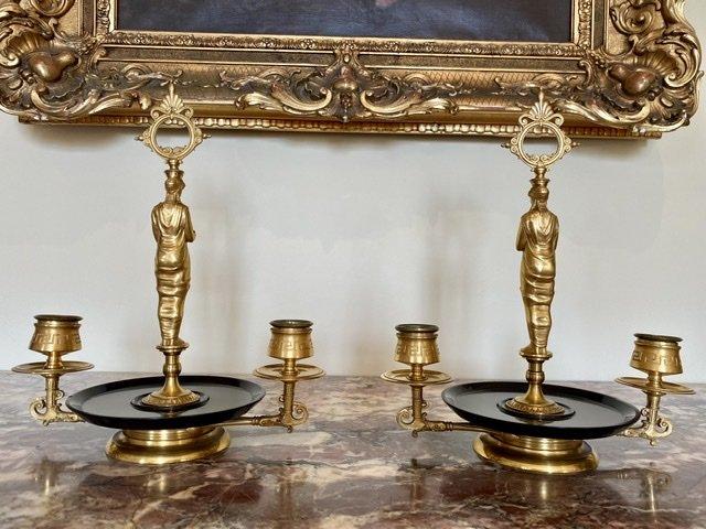 Attribué à BARBEDIENNE - Paire de Bougeoirs en Bronze Doré -photo-6