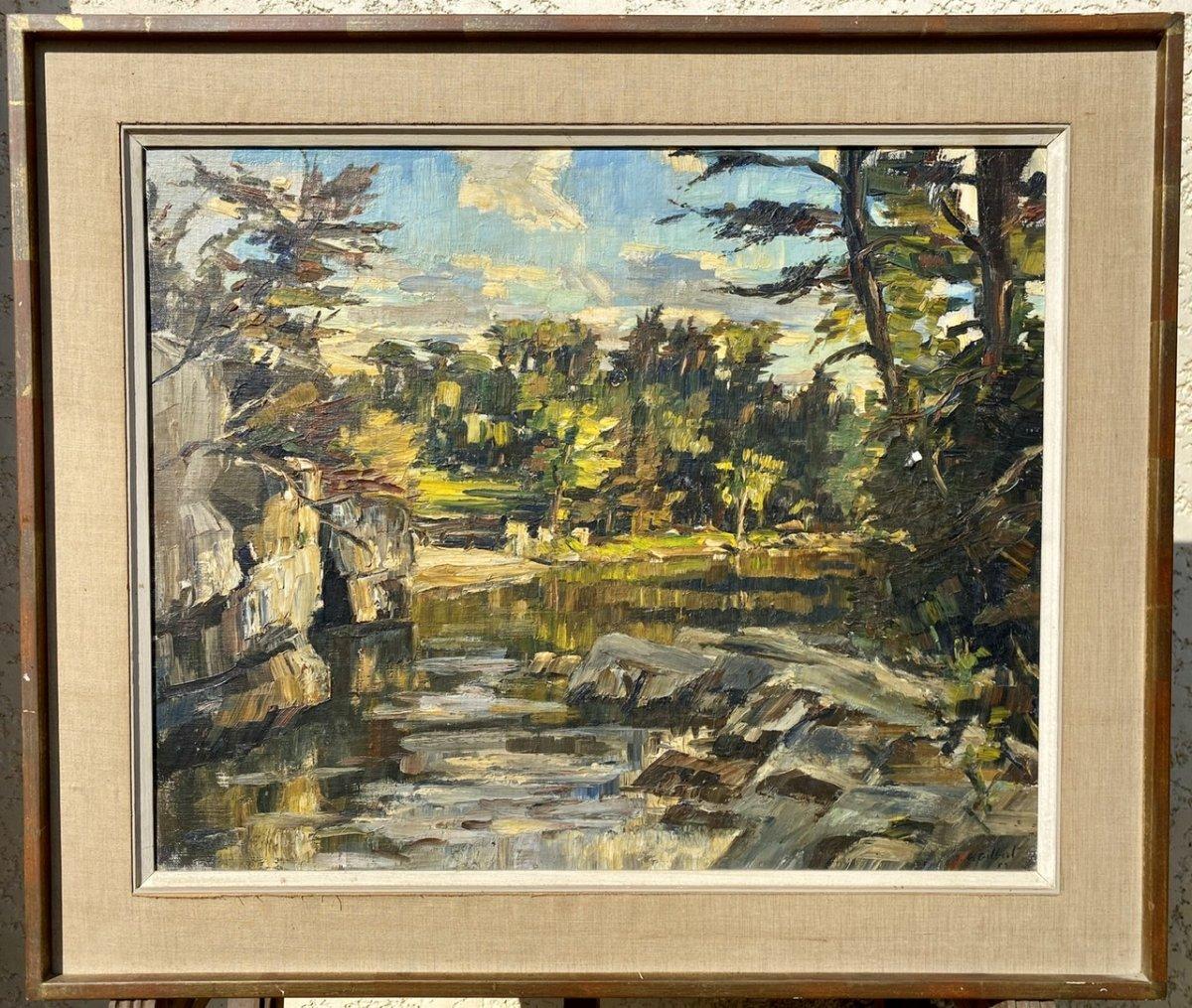 Michel Gérard Gilbert - Watercolor, Landscape And Mountain River