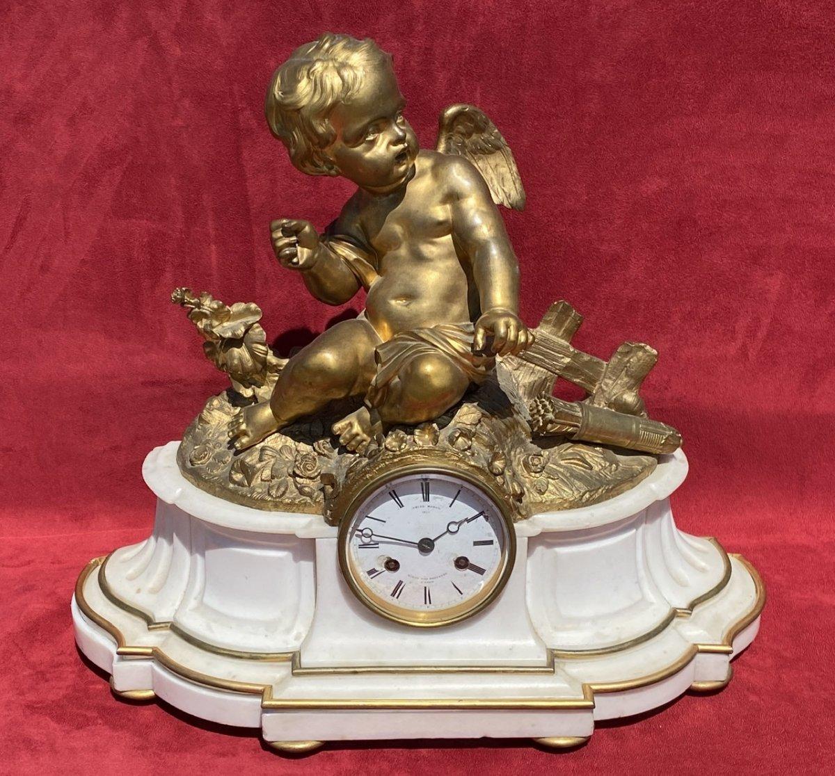 CUPIDON - Pendule en Bronze & Marbre