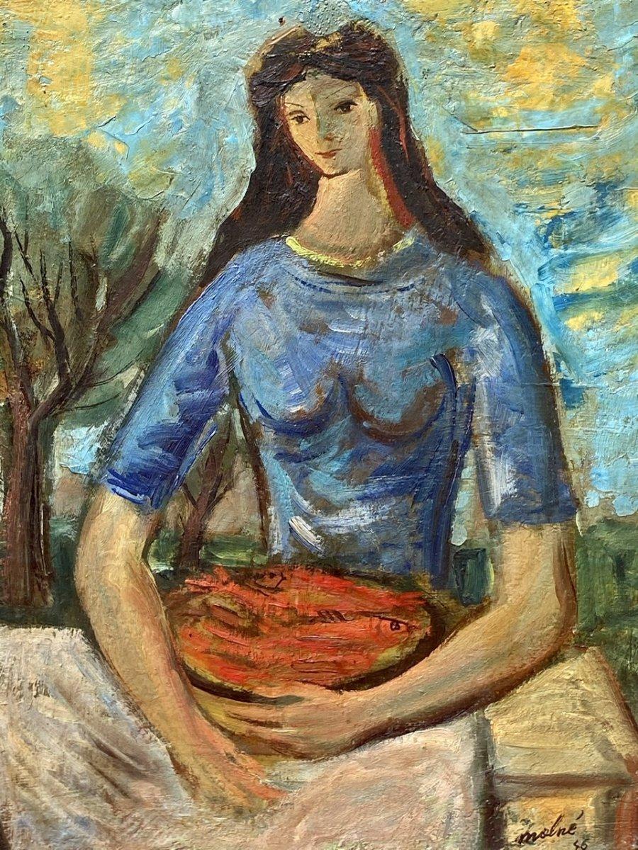 Luis MolnÉ - Oil On Panel, Portrait Of Woman
