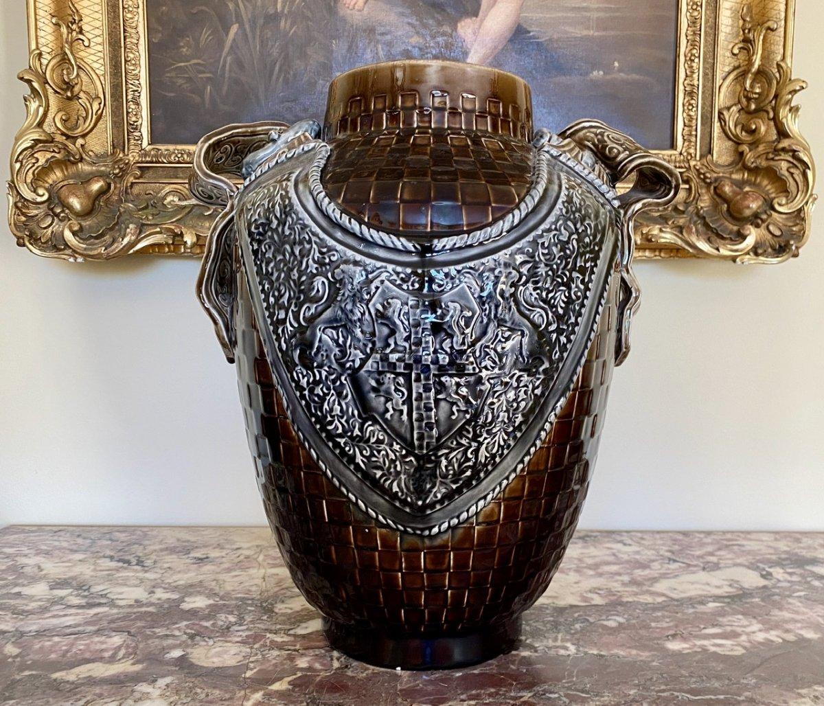 CHOISY LE ROI - Grand Vase / Cache-Pot en Faïence