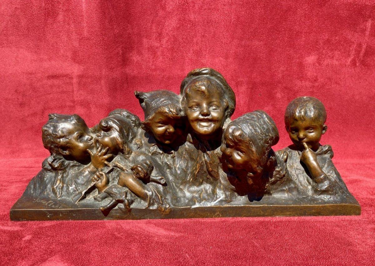Juan Clara - Bronze, 6 Busts Of Laughing Children