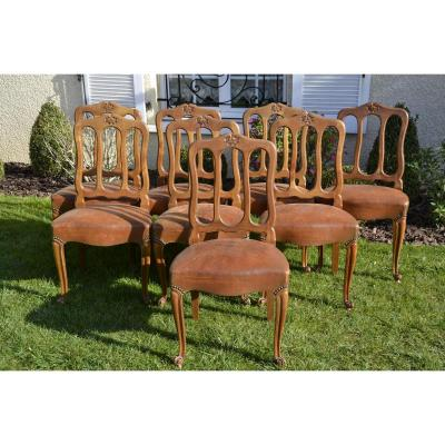 Suit Of 8 Chairs Style Néo-rustic