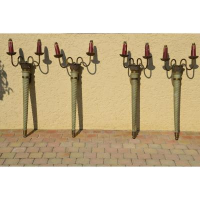 Suite 4 Large Wall Sconces / Torchs - Circa 1930/1940