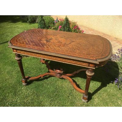 XVIIIe - Table en Marqueterie et Bronze époque Napoléon III