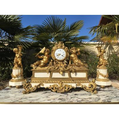 Garniture Napoléon III en Bronze et Marbre de Carrare