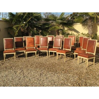 Suite Of 14 Laquered Chairs Style Louis XVI