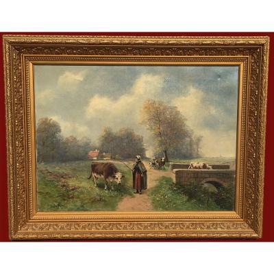 G. GEYMÜLLER - Huile Sur Toile, Fermières et leurs Vaches - Fin XIXe