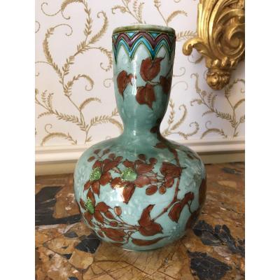 SEVRES - Vase en Faïence émaillée signé OPTAT-MILET & DILHOTH