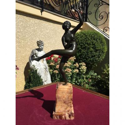 M GUIRAUD RIVIERE - Bronze Art Déco, Danseuse avec une Sphère en Ivoire dans la Main