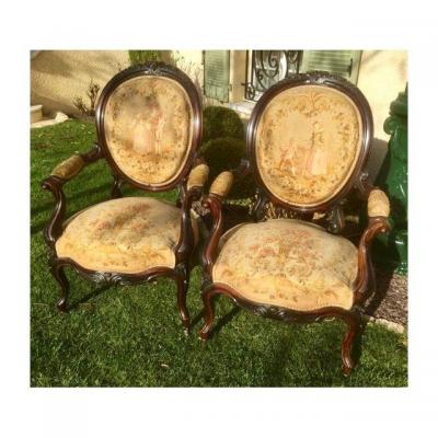 Pair Of Napoleon III Period Rosewood Armchairs