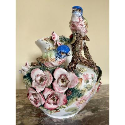Vase aux Oiseaux en Porcelaine