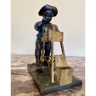 Charles MENNE  - Bronze « Le Petit Rémouleur»