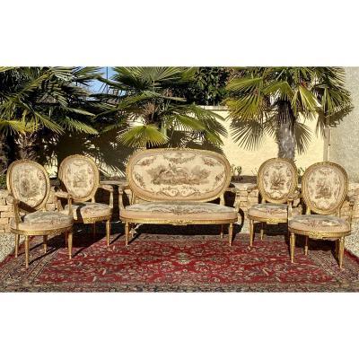 AUBUSSON - Salon en Bois Doré Style Louis XVI/Napoléon  III