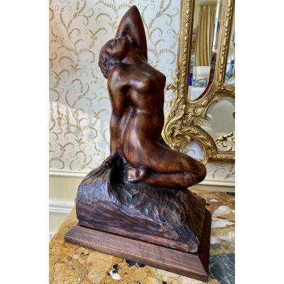 Amédéo Gennarelli - Mahogany Sculpture, Female Nude