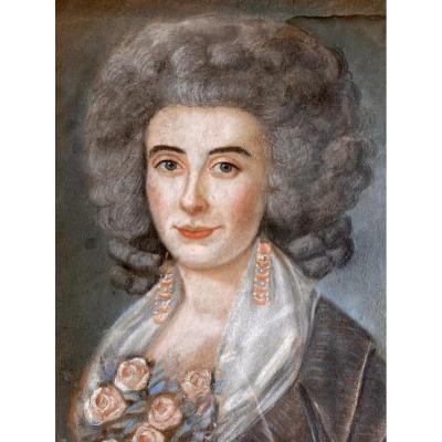XVIIIème - Pastel, Portrait de Dame