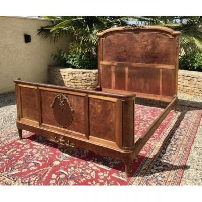Mahogany And Gilt Bronze Bed & Nightstand Style Louis XVI