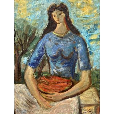 Luis MOLNÉ - Huile sur Panneau, Portrait de Femme