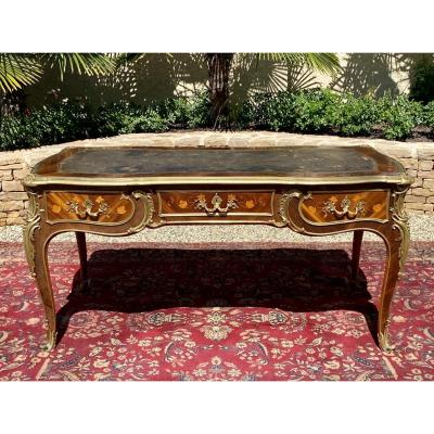 Gervais Durand - Middle Desk In Marquetry & Bronze Style L XV