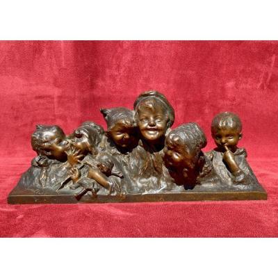 JUAN CLARA - Bronze, 6 Bustes d'enfants riants