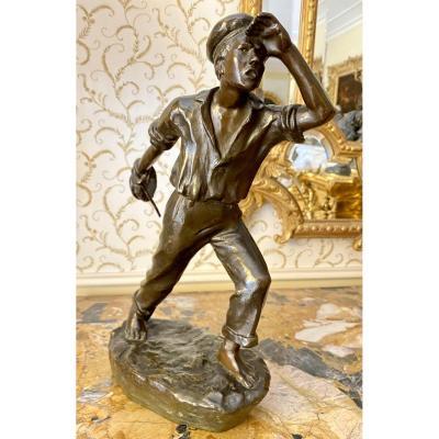 Arthur PUYT - Bronze, Marin Lançant un Cordage