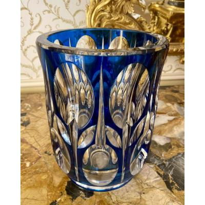 Val Saint Lambert - Vase en Cristal Taillé Doublé Bleu
