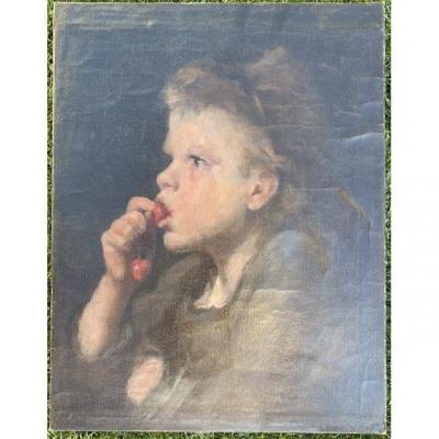 """Repro. By Auguste Boulard - The """"little Girl With Cherries"""""""