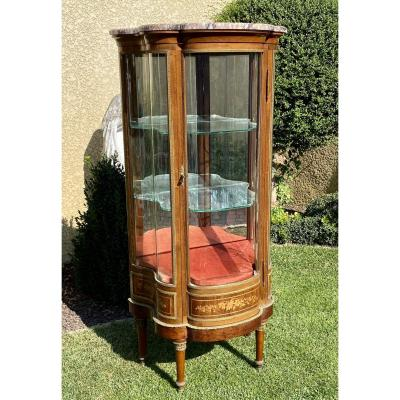 Little Vitrine Curved Marquetry & Bronze Louis XVI Style