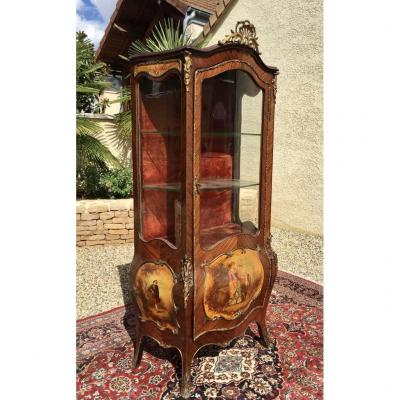 Domed Showcase Martin Varnish, Marquetry & Bronze Louis XV Style