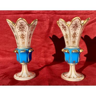 Paire de Vases en Opaline