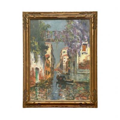 Charles COUSIN - Pastel, Vue de Venise