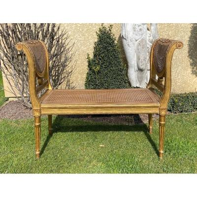 Small Bench Golden Wood & Cannage Louis XVI Style