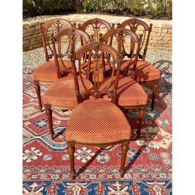 Suite Of 6 Louis XVI Style Walnut Chairs